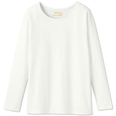 【ぽっちゃりさんサイズ】シンプルTシャツ(長袖・綿100%)/オフホワイト/3L