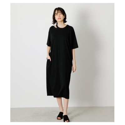(AZUL by moussy/アズールバイマウジー)SLIT NECK ONEPIECE/レディース BLK