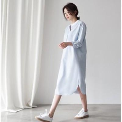 爽やかなストライプ柄のシャツワンピース 長そで デイリーカジュアルに最適!ブルー S/M/L/XL