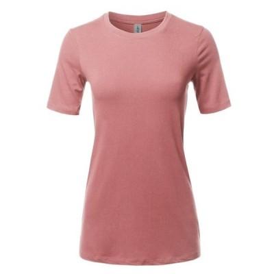 レディース 衣類 トップス A2Y Women's Basic Solid Premium Cotton Short Sleeve Crew Neck T Shirt Tee Tops Dusty Rose S
