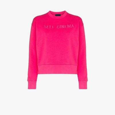 セルフ シネマ Self Cinema レディース スウェット・トレーナー トップス embroidered logo cotton sweatshirt pink