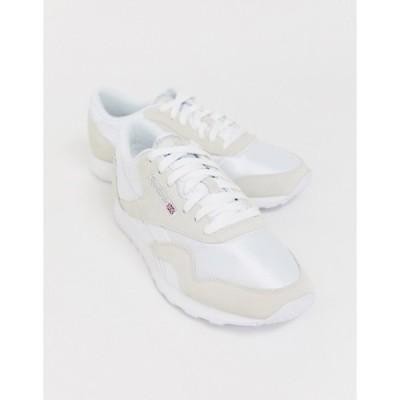 リーボック メンズ スニーカー シューズ Reebok Classic nylon sneakers in white