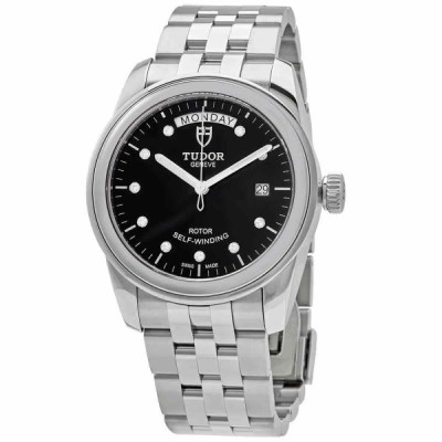 チューダー 腕時計 Tudor Glamour Day-Date Automatic Diamond Black Dial 39 mm Watch 56000-0008