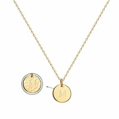 14K Gold Initial Letter Necklace for Women Dainty Chain Initial Pendant Y Necklace Adjustable Round Disc Double Side Engraved Ha