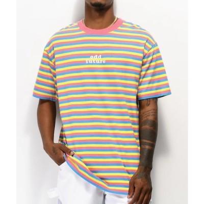 オッドフューチャー Odd Future Tシャツ 半袖 ロゴ ストライプ Tシャツ Pink, Blue & Yellow Striped T-Shirt ピンク ブルー イエロー メンズ 取り寄せ