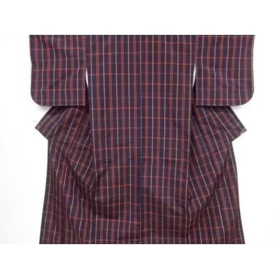 リサイクル 未使用品 格子織り出し米沢紬着物アンサンブル