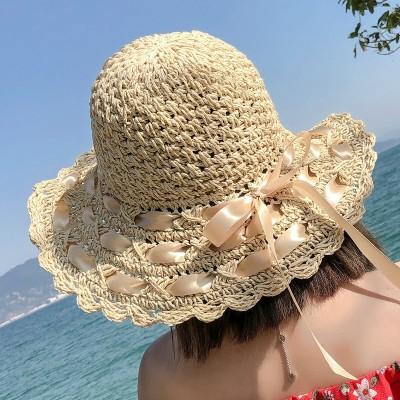 2019新品【小顔効果抜群!】UVカット 紫外線対策 麦わら帽子 レディースハット パナマ帽 クラシカル バックスタイル ツバ広麦わら帽子