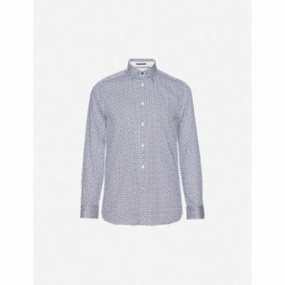 テッドベーカー TED BAKER メンズ シャツ トップス Graphic-print regular-fit cotton shirt NAVY