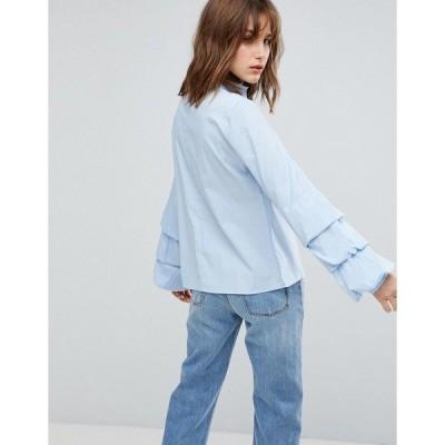 ヴィラ レディース シャツ トップス Vila Tiered Sleeve Shirt Blues