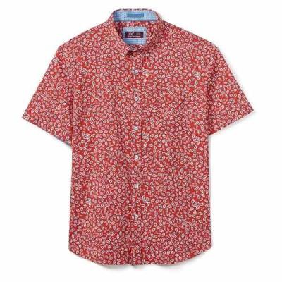 ジョンストンアンドマーフィー メンズ シャツ トップス XC4 Leaf Print Stretch Short-Sleeve Woven Shirt Coral