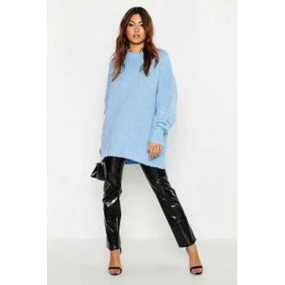 Boohoo レディーストップス Boohoo Oversized Rib Knit Boyfriend Jumper denim-blue