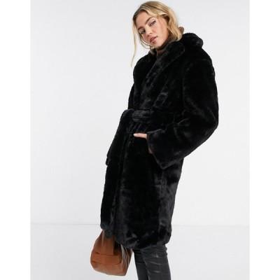 ニュールック コート レディース New Look longline belted faux fur coat in black エイソス ASOS ブラック 黒