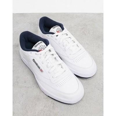 リーボック メンズ スニーカー シューズ Reebok Classics Club C 85 sneakers in white with navy tab