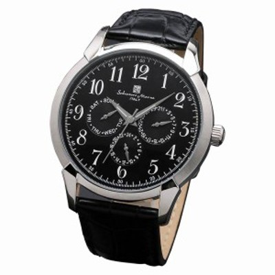 取寄品 正規品Salvatore Marra腕時計サルバトーレマーラ SM18107-SSBK 多軸 革ベルト 防水 メンズ腕時計 送料無料