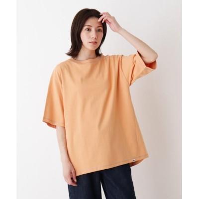 (SHOO・LA・RUE/シューラルー)USAコットン配色ステッチラウンドヘムTシャツ/レディース ライトオレンジ(066)