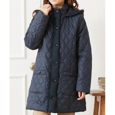 フード取外しOK!中綿 キルトシャンブレーコート (コート)(レディース)Coat