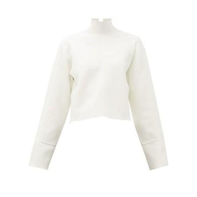 プロエンザ スクーラー Proenza Schouler レディース ニット・セーター トップス Raised-seam mock-neck jersey cropped sweater White