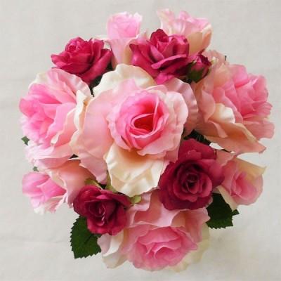 ウエディングブーケ ブライダルブーケ 造花ブーケ/トス用 ピンク&ラズベリーローズ