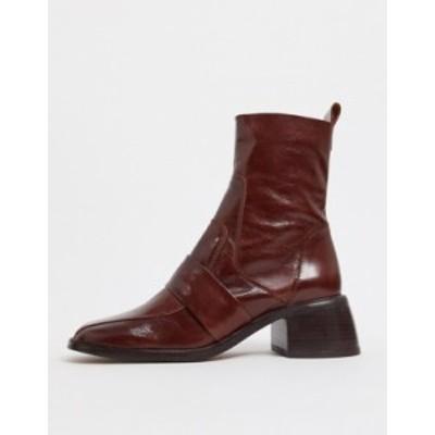 エイソス レディース ブーツ・レインブーツ シューズ ASOS DESIGN Almond premium leather boots in brown Brown