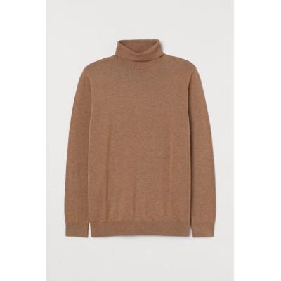 H&M - ファインニット ハイネックセーター - ベージュ