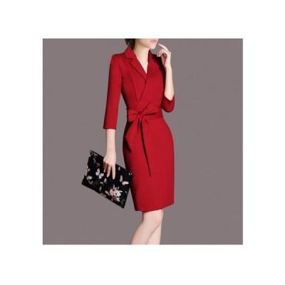 パーティードレス タイトスカート ひざ丈 リボン 襟付き 上品 レディース ワンピース 結婚式 二次会 お呼ばれドレス kh-0404