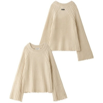 ニット RIBBED KNIT CROP TOP