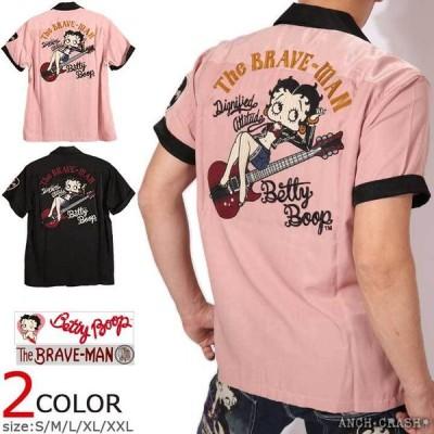 The BRAVE-MAN ベティブープ レーヨン ボーリングシャツ BBB-2122 ブレイブマン BETTY BOOP 刺繍 ワッペン