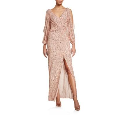 ジェニー・パッカム レディース ワンピース トップス Cold-Shoulder Wrapped Shimmer Gown