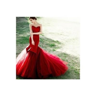 カラードレスロング二次会パーティードレス花嫁ウェディングドレス結婚式演奏会ウエディングドレス大きいサイ