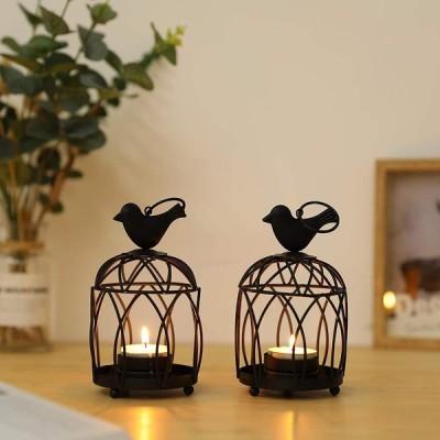 JHY DESIGN 2個セット キャンドルホルダー 可愛い鳥かご ティーライト燭台 ?古スタイル用ランタン インテリア テラスベランダ ルホーム飾