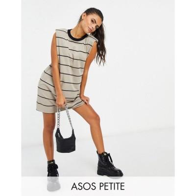 エイソス ミディドレス レディース ASOS DESIGN Petite padded shoulder sleeveless mini t-shirt dress in taupe and black stripe エイソス ASOS マルチカラー