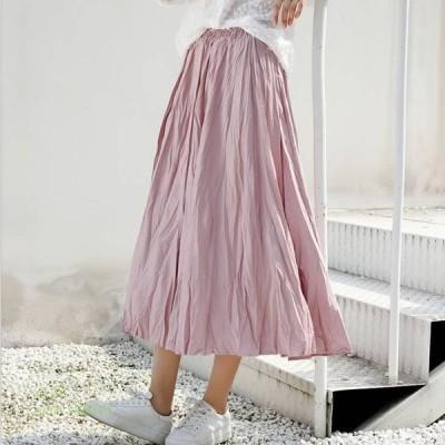 ワッシャープリーツスカート ボトムス 大人女子 カジュアル レディースファッション プリーツスカート ママ しわ加工 無地 マイクロプリーツ スカート かわいい