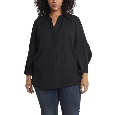 ヴィンスカムート カットソー トップス レディース Women's Plus Size Ruched Sleeve Henley Rich Black