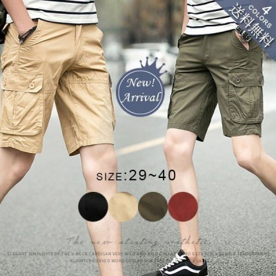夏 ハーフパンツ メンズ パンツ 夏 ワーク ショート カーゴパンツ ミリタリー パンツ 無地 メンズ カジュアルパンツ イージー