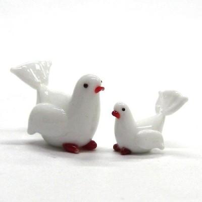 ハト(鳩)の親子 鳥 ガラス細工 雑貨 置物