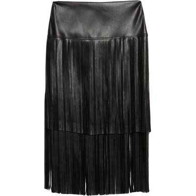 BIANCOGHIACCIO ひざ丈スカート ブラック 46 ポリウレタン 50% / ポリエステル 50% ひざ丈スカート