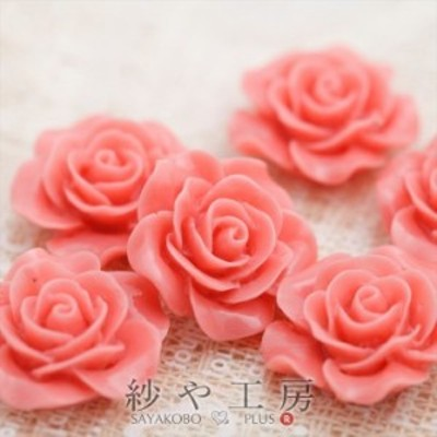 フラワーカボション バラ5個 20mm ベビーピンク 2cm 1つ穴 お花 花 ハンドメイド手芸用品 アクセサリーパーツ 通し穴付き パーツ