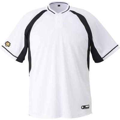 DESCENTE(デサント) ジュニア 野球 2ボタンベースボールシャツ  JDB103B Sホワイト×ブラック(SWBK) 150
