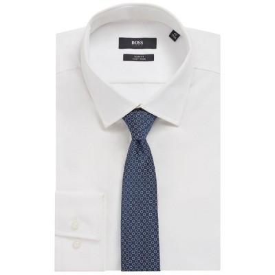 ヒューゴボス ポロシャツ トップス メンズ BOSS Men's Patterned Jacquard Tie Medium Blue
