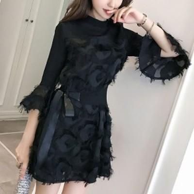ドレス ミニ パーティードレス ブラック 黒 フェザー シースルー リボン ウエストリボン 七分袖 袖あり 上品 大人っぽい