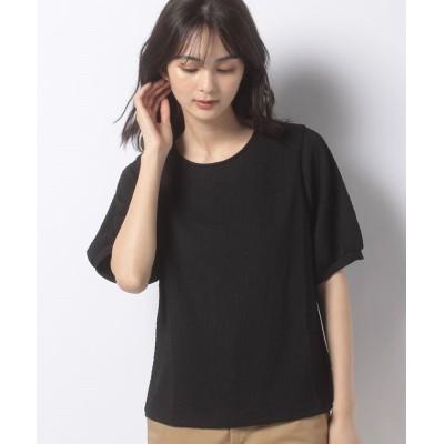【エヘカソポ】 くしゅくしゅボリュームスリーブTシャツ レディース ブラック F ehka sopo