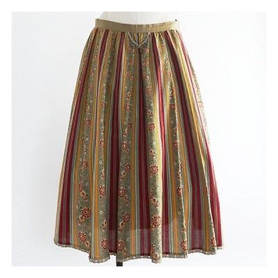 1960年代西ドイツ製カーキベージュxレッドフローラルストライプ柄木綿のスカート FG500