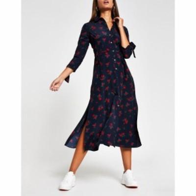 リバーアイランド River Island レディース ワンピース シャツワンピース Floral Tie Side Asymmetric Midi Shirt Dress In Navy ネイビ