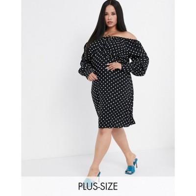 ヴェロモーダ レディース ワンピース トップス Vero Moda Curve off shoulder dress in black polka