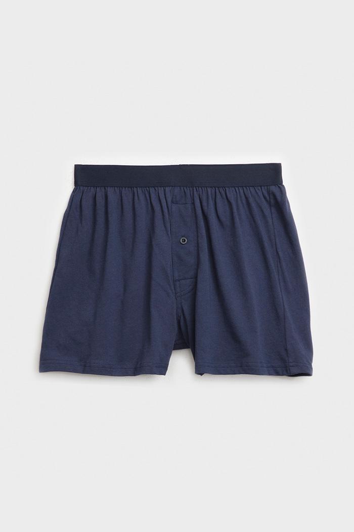(男款)經典再現.純棉寬鬆四角內褲(深藍)