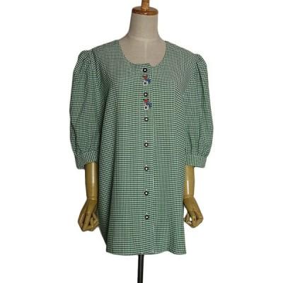 刺繍入り チェック柄 チロルブラウス レディース XL位 古着 ヨーロッパ 民族衣装