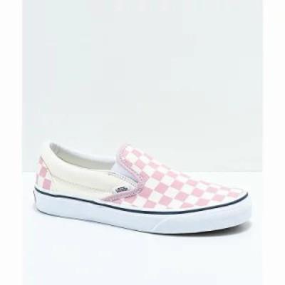 ヴァンズ スリッポン・フラット Slip-On Zephyr Pink & White Checkered Skate Shoes Pink