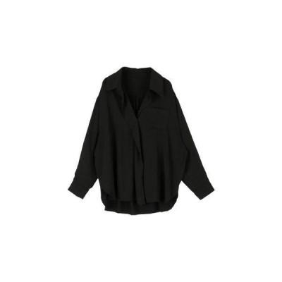 ミエット miette ワンボタンビッグカラーワイドシャツ (ブラック)
