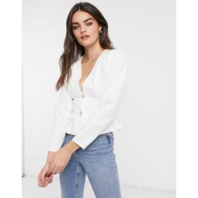エイソス レディース シャツ トップス ASOS DESIGN structured blouse with crystal buttons in Ivory Ivory