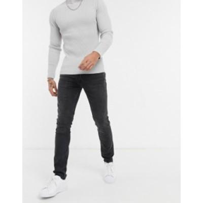 トップマン メンズ デニムパンツ ボトムス Topman organic cotton skinny jeans with raw hem in washed black Washed black